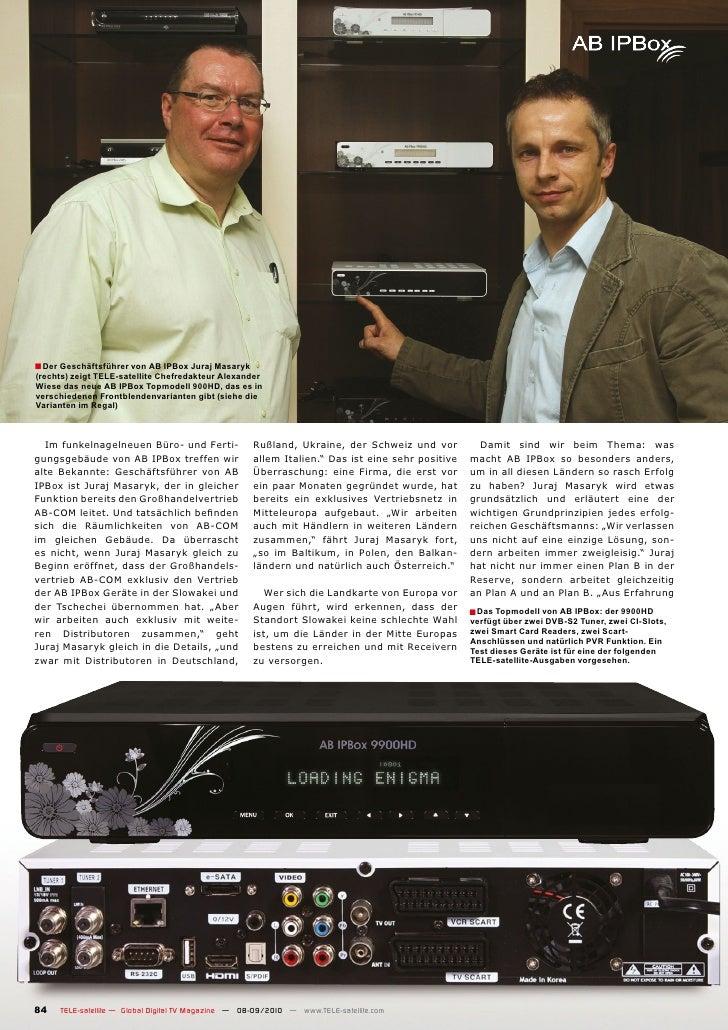 ■ Der Geschäftsführer von AB IPBox Juraj Masaryk (rechts) zeigt TELE-satellite Chefredakteur Alexander Wiese das neue AB I...