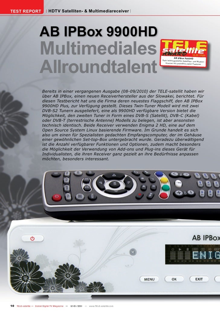 TEST REPORT                   HDTV Satelliten- & Multimediareceiver                       AB IPBox 9900HD                 ...