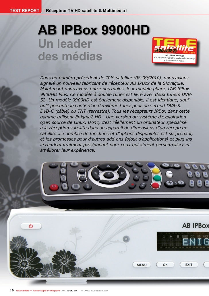 TEST REPORT                   Récepteur TV HD satellite & Multimédia                       AB IPBox 9900HD                ...