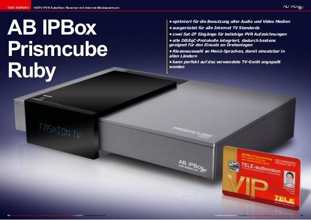 TEST REPORT  HDTV PVR Satelliten Receiver mit Internet Mediazentrum  AB IPBox Prismcube Ruby  18 TELE-audiovision Internat...
