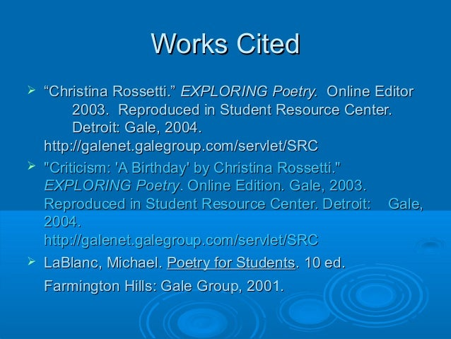 "birthday by christina rossetti essay A birthday- christina rossetti essay in the poem, ""a birthday"", christina rossetti  uses extensive and positive imagery, mostly pertaining to."