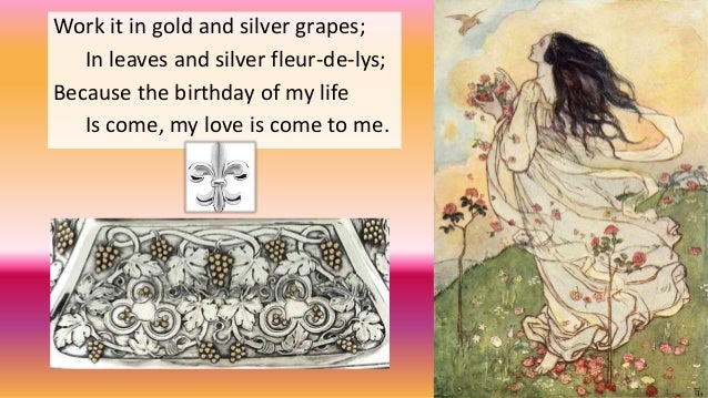"birthday by christina rossetti essay A birthday by christina rossetti body paragraph in the poem, ""a birthday"", christina rossetti uses extensive and positive reflection on my practice essay."