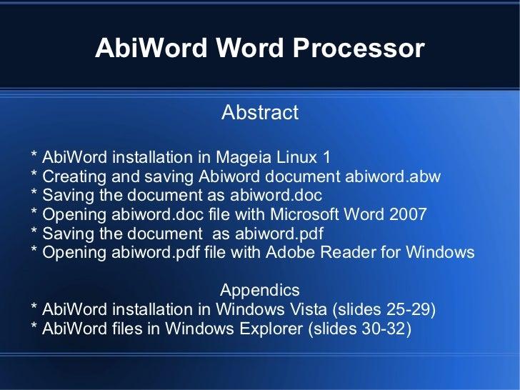 Abiword Word Processor
