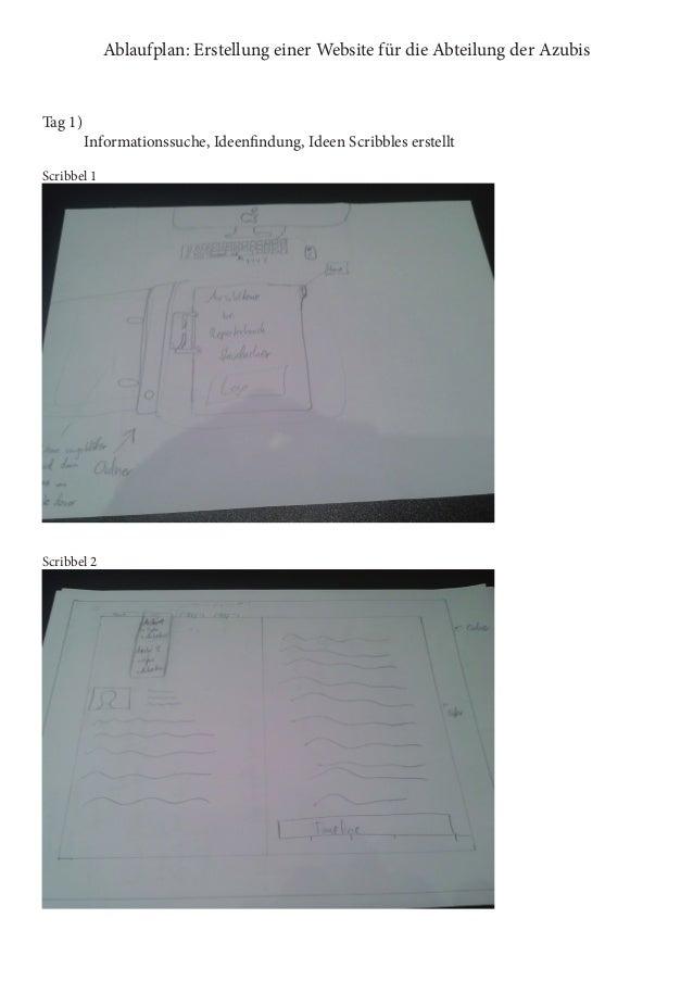 Ablaufplan: Erstellung einer Website für die Abteilung der Azubis  Tag 1)  Informationssuche, Ideenfindung, Ideen Scribbl...