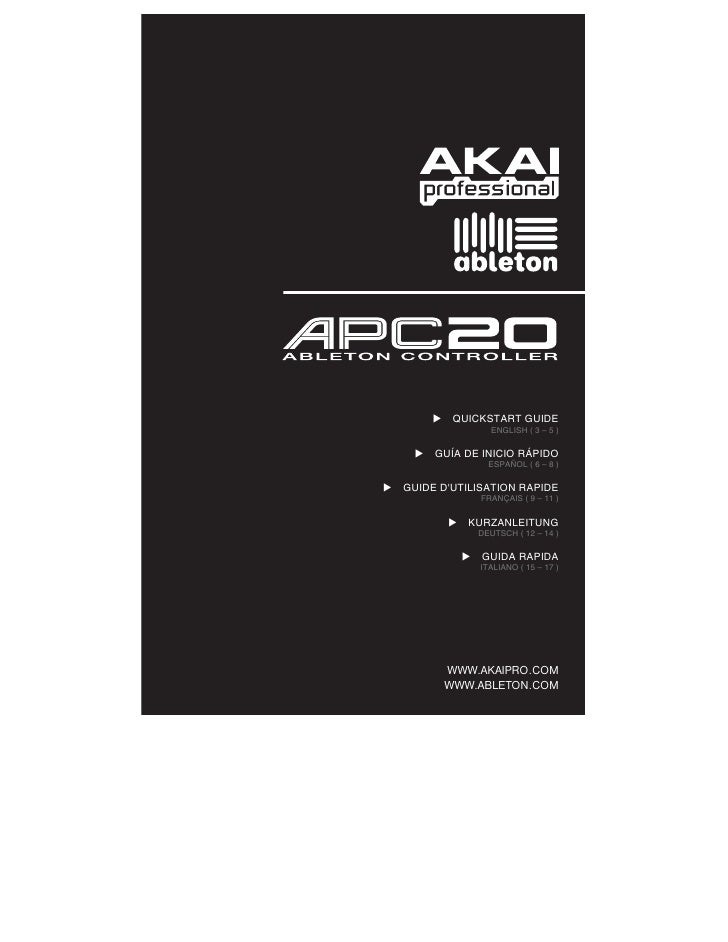 ableton midi controller apc20 quickstart guide. Black Bedroom Furniture Sets. Home Design Ideas