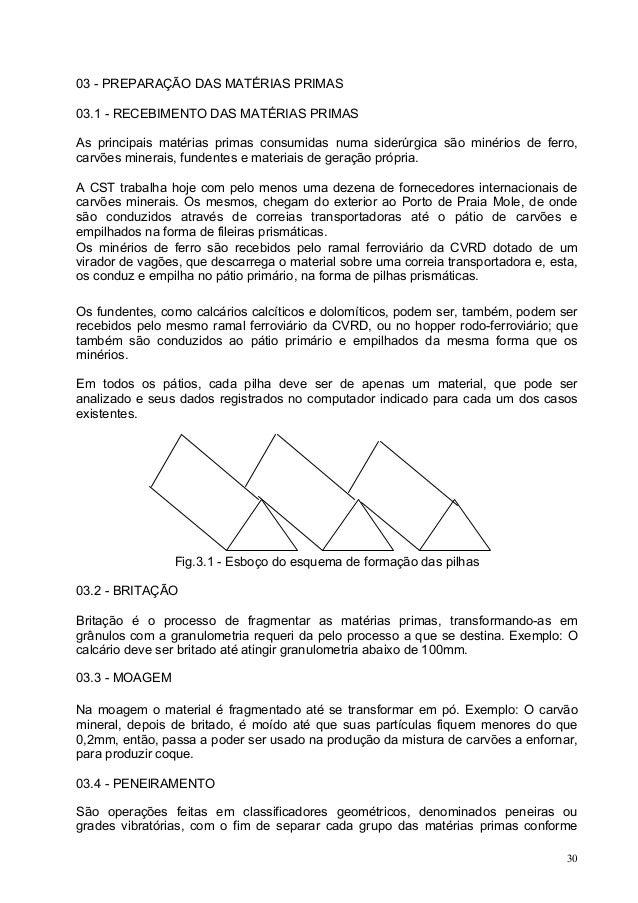 03 - PREPARAÇÃO DAS MATÉRIAS PRIMAS 03.1 - RECEBIMENTO DAS MATÉRIAS PRIMAS As principais matérias primas consumidas numa s...