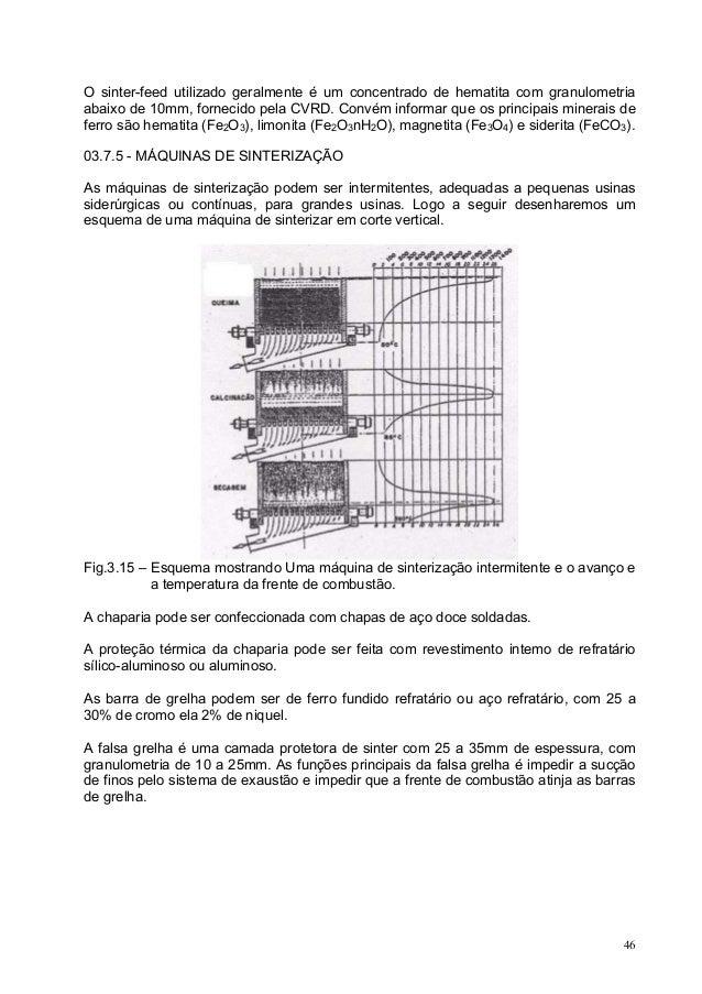 O sinter-feed utilizado geralmente é um concentrado de hematita com granulometria abaixo de 10mm, fornecido pela CVRD. Con...