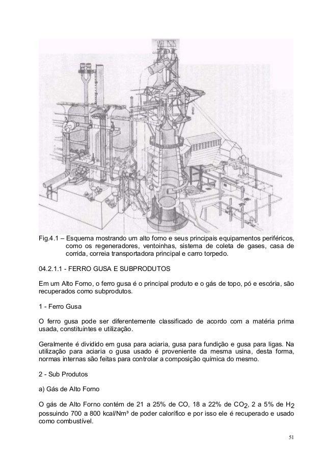 Fig.4.1 – Esquema mostrando um alto forno e seus principais equipamentos periféricos, como os regeneradores, ventoinhas, s...