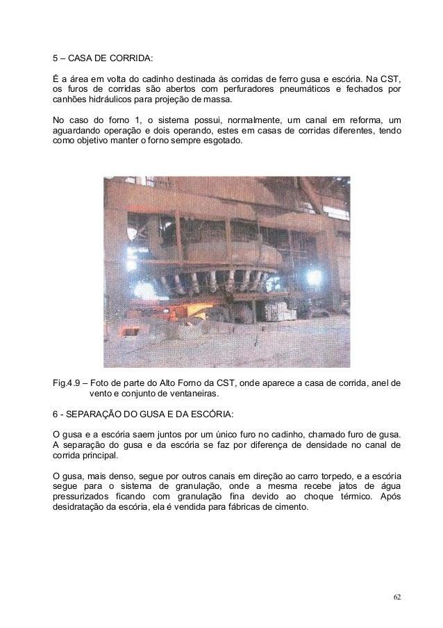 5 – CASA DE CORRIDA: É a área em volta do cadinho destinada às corridas de ferro gusa e escória. Na CST, os furos de corri...