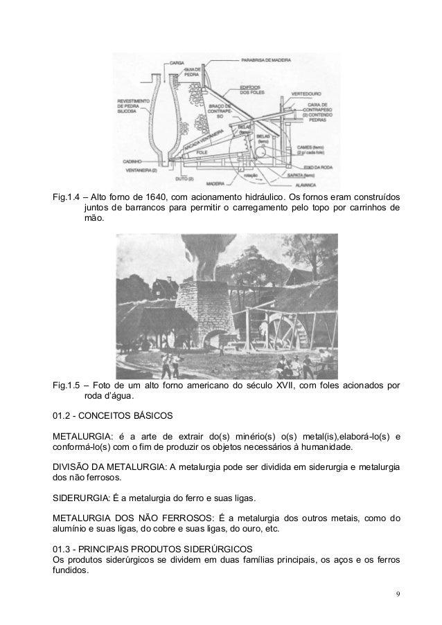 Fig.1.4 – Alto forno de 1640, com acionamento hidráulico. Os fornos eram construídos juntos de barrancos para permitir o c...