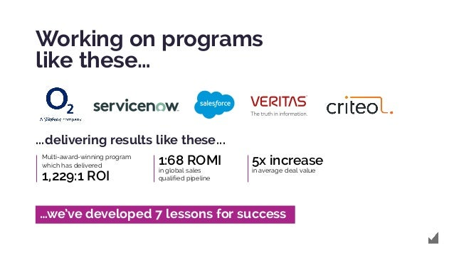 Working on programs like these… Multi-award-winning program which has delivered 1,229:1 ROI 1:68 ROMI in global sales qual...
