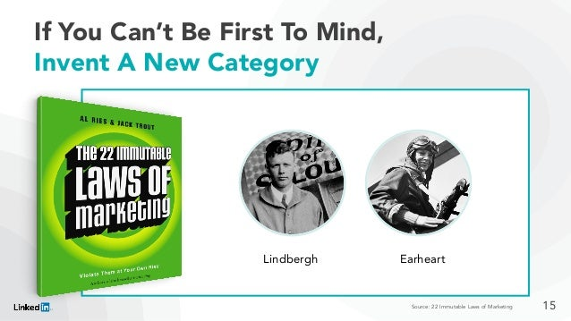 If You Can't Be First To Mind, Invent A New Category Lindbergh Earheart Source: 22 Immutable Laws of Marketing 15