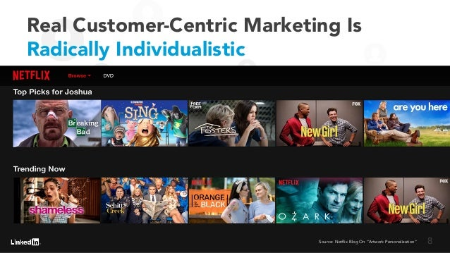 """Real Customer-Centric Marketing Is Radically Individualistic Source: Netflix Blog On """"Artwork Personalization"""" 8"""