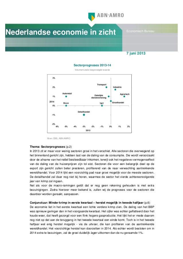 Nederlandse economie in zicht Economisch Bureau7 juni 2013Sectorprognoses 2013-14Volumemutatie toegevoegde waardeBron: CBS...