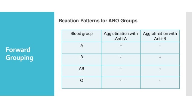 Forward Grouping Reaction Patterns for ABO Groups Blood group Agglutination with Anti-A Agglutination with Anti-B A + - B ...