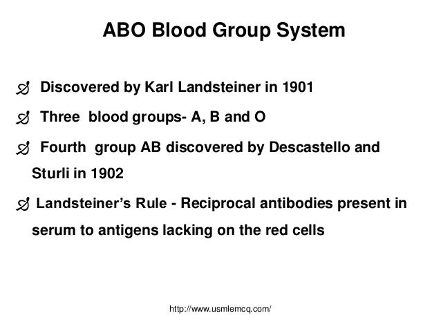 The principles of the abo blood group