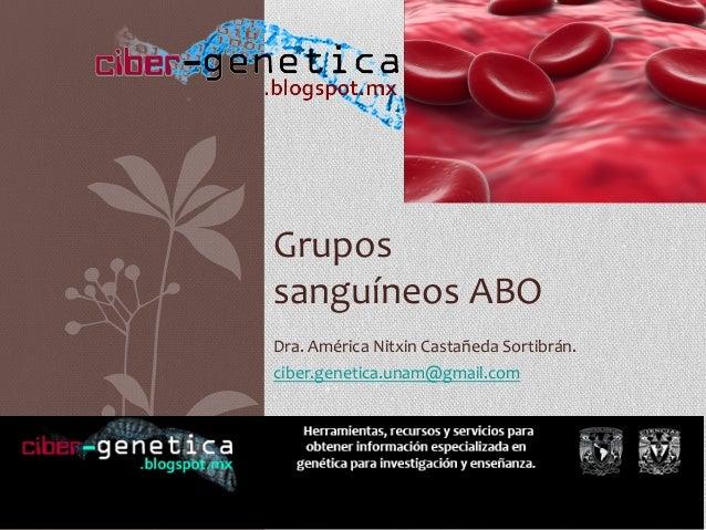 Dra.  América  Nitxin  Castañeda  Sortibrán.   ciber.genetica.unam@gmail.com   Grupos     sanguíneos  ...