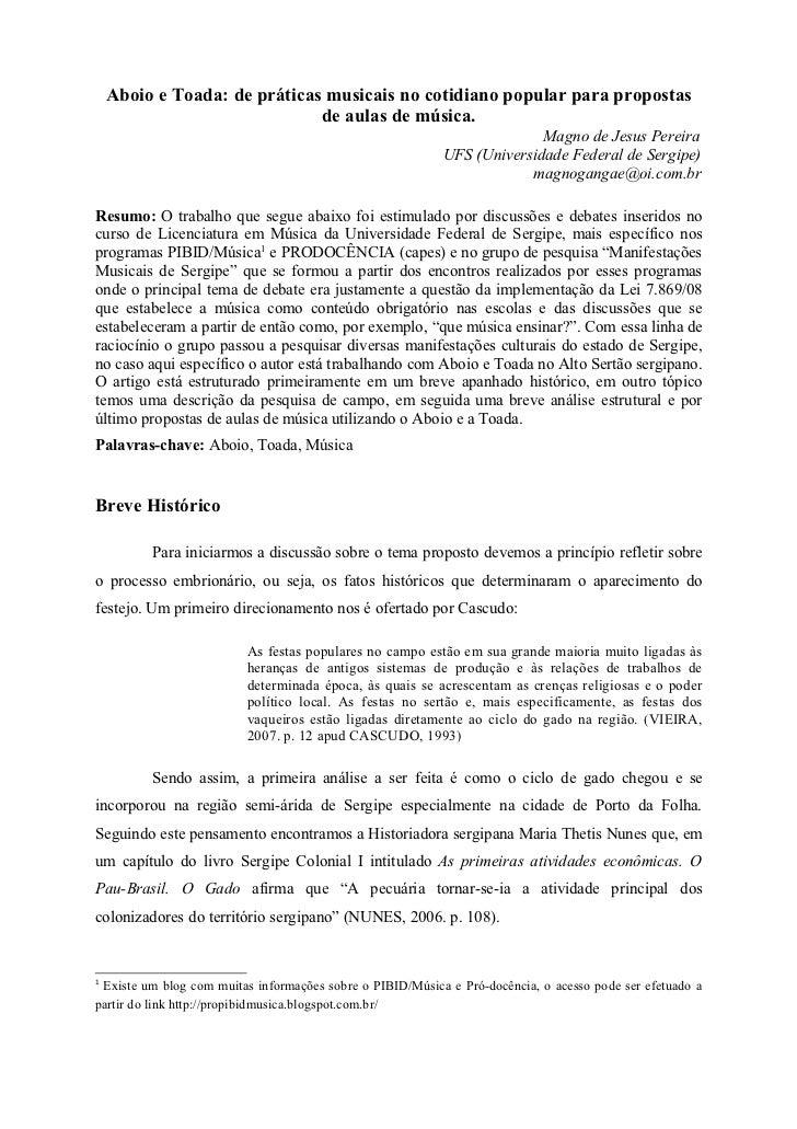Aboio e Toada: de práticas musicais no cotidiano popular para propostas                              de aulas de música.  ...