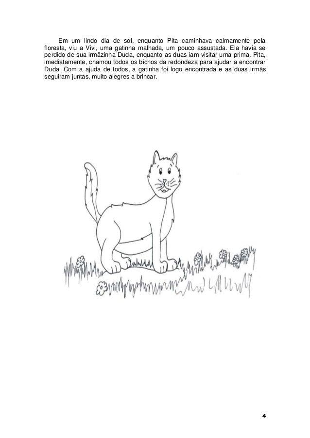 Em um lindo dia de sol, enquanto Pita caminhava calmamente pela  floresta, viu a Vivi, uma gatinha malhada, um pouco assus...