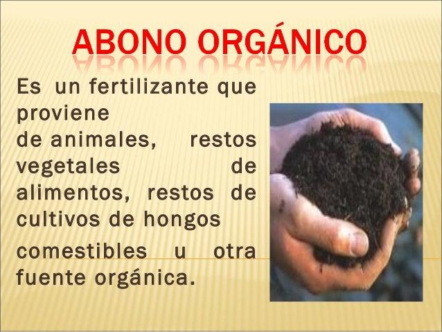 Es unfertilizanteque proviene deanimales, restos vegetales de alimentos, restos de cultivos dehongos comestibles u ot...