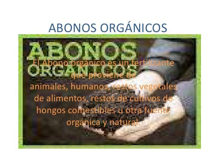 ABONOS ORGÁNICOS El Abono orgánico es un fertilizante          que proviene deanimales, humanos, restos vegetales de alime...