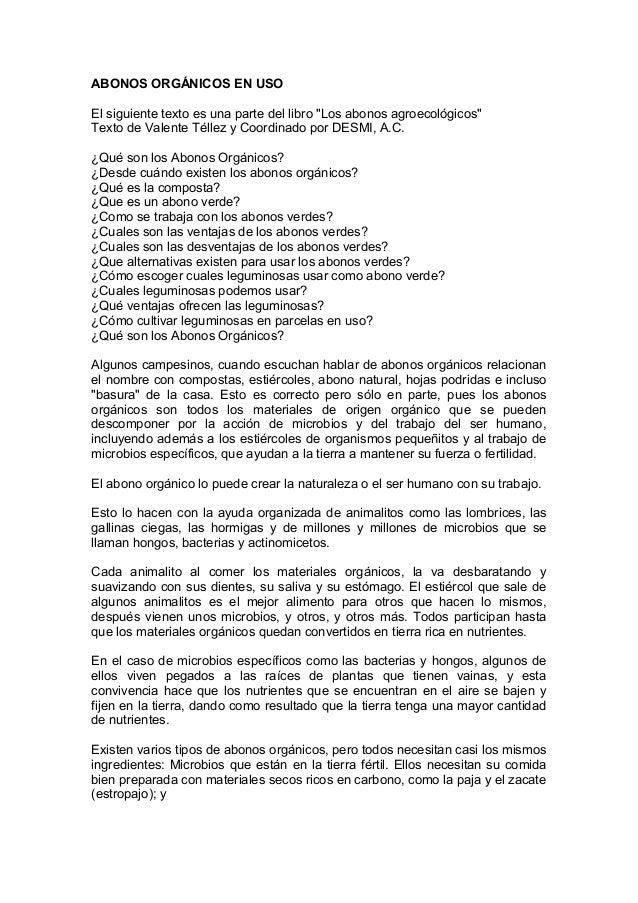 """ABONOS ORGÁNICOS EN USOEl siguiente texto es una parte del libro """"Los abonos agroecológicos""""Texto de Valente Téllez y Coor..."""