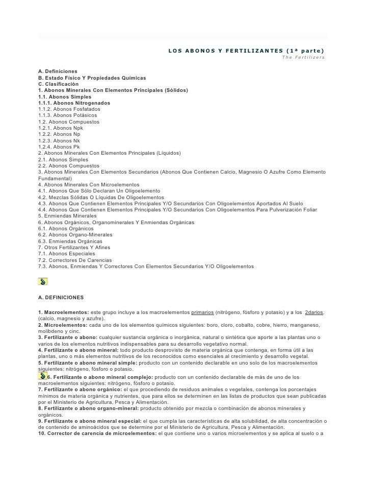 LOS ABONOS Y FERTILIZANTES (1ª parte)                                                                                     ...
