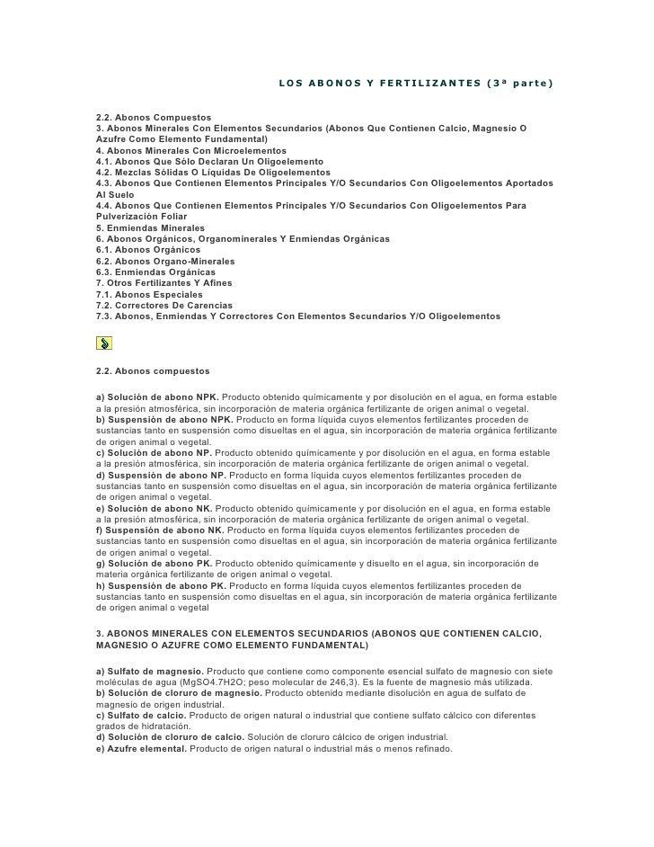 LOS ABONOS Y FERTILIZANTES (3ª parte)   2.2. Abonos Compuestos 3. Abonos Minerales Con Elementos Secundarios (Abonos Que C...