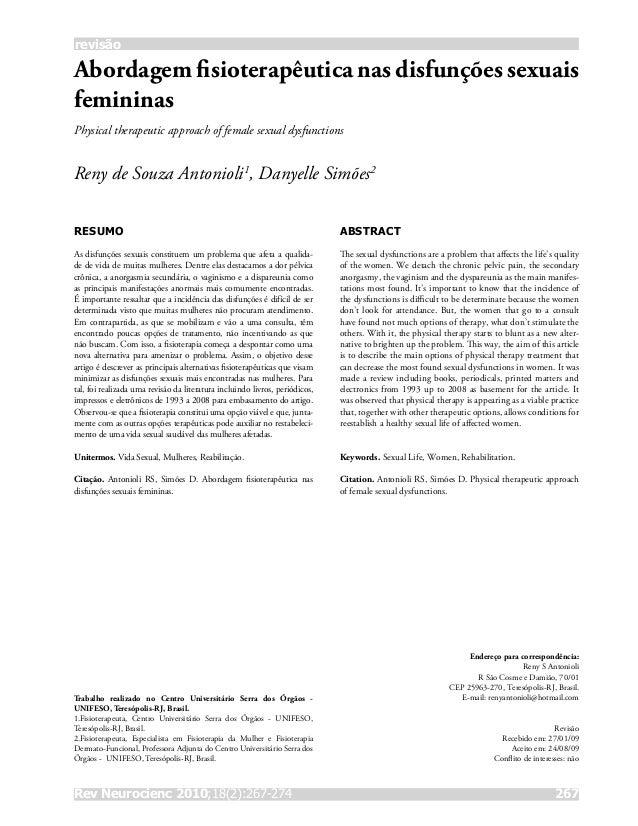 Rev Neurocienc 2010;18(2):267-274 267 revisão Abordagem fisioterapêutica nas disfunções sexuais femininas Physical therap...