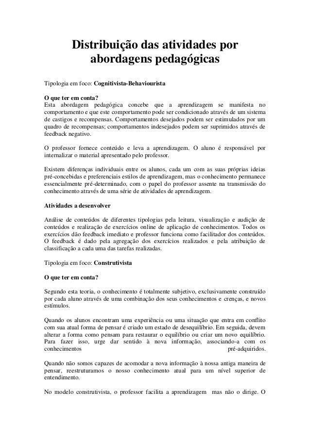 Distribuição das atividades por             abordagens pedagógicasTipologia em foco: Cognitivista-BehaviouristaO que ter e...