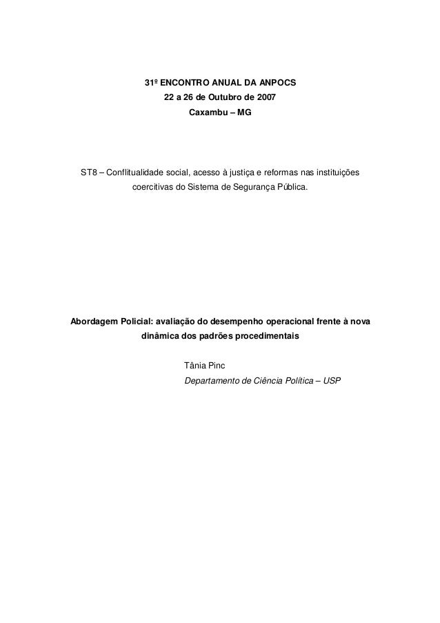31º ENCONTRO ANUAL DA ANPOCS                        22 a 26 de Outubro de 2007                              Caxambu – MG  ...