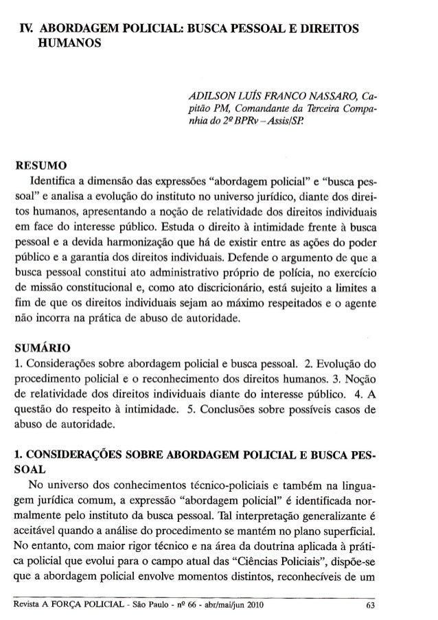 Artigo - Abordagem Policial: Busca Pessoal e Direitos Humanos