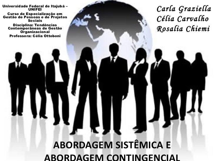 ABORDAGEM SISTÊMICA E ABORDAGEM CONTINGENCIAL Universidade Federal de Itajubá – UNIFEI Curso de Especialização em Gestão d...