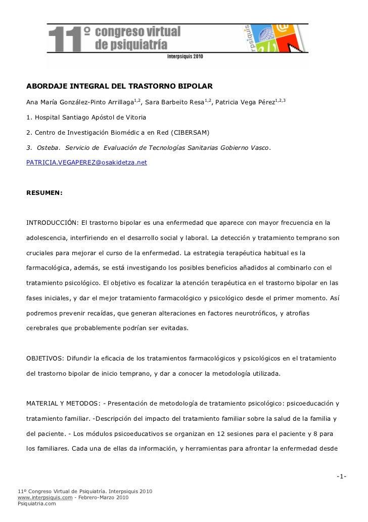 ABORDAJE INTEGRAL DEL TRASTORNO BIPOLAR   ABORDAJE INTEGRAL DEL TRASTORNO BIPOLAR   Ana María González-Pinto Arrillaga1,2,...