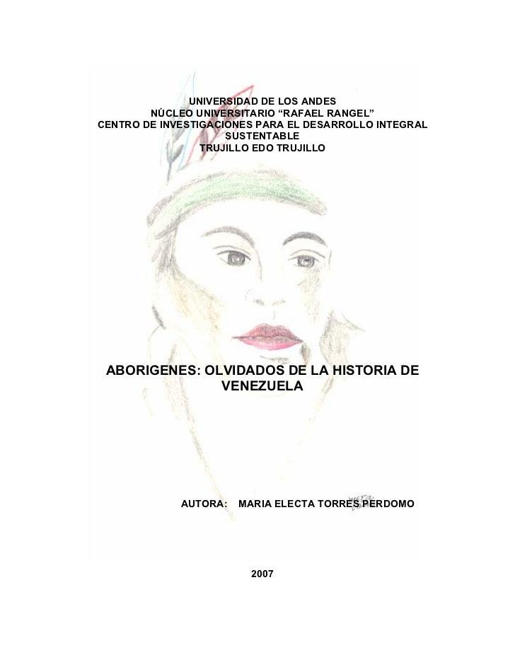"""UNIVERSIDAD DE LOS ANDES        NÚCLEO UNIVERSITARIO """"RAFAEL RANGEL""""CENTRO DE INVESTIGACIONES PARA EL DESARROLLO INTEGRAL ..."""