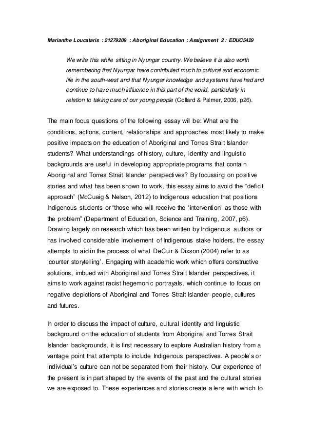 aboriginal education essay marianthe loucataris 21279209 aboriginal education assignment 2 educ5429 we write this while