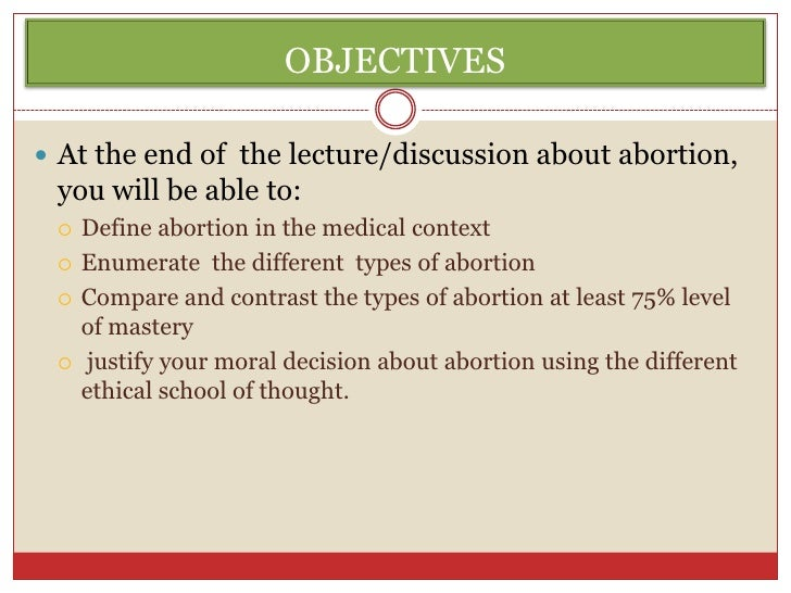 a discussion of the morality of abortion Free essays from bartleby | the topic of abortion is an extremely controversial issue in today's society, there are many separate views on the morality of.