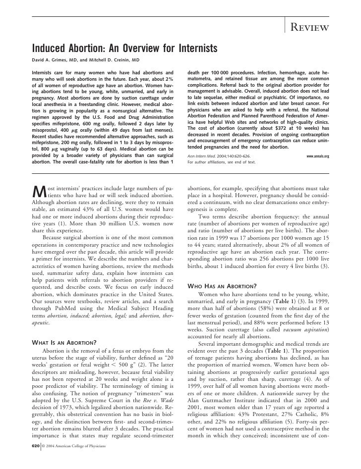 ReviewInduced Abortion: An Overview for InternistsDavid A. Grimes, MD, and Mitchell D. Creinin, MDInternists care for many...