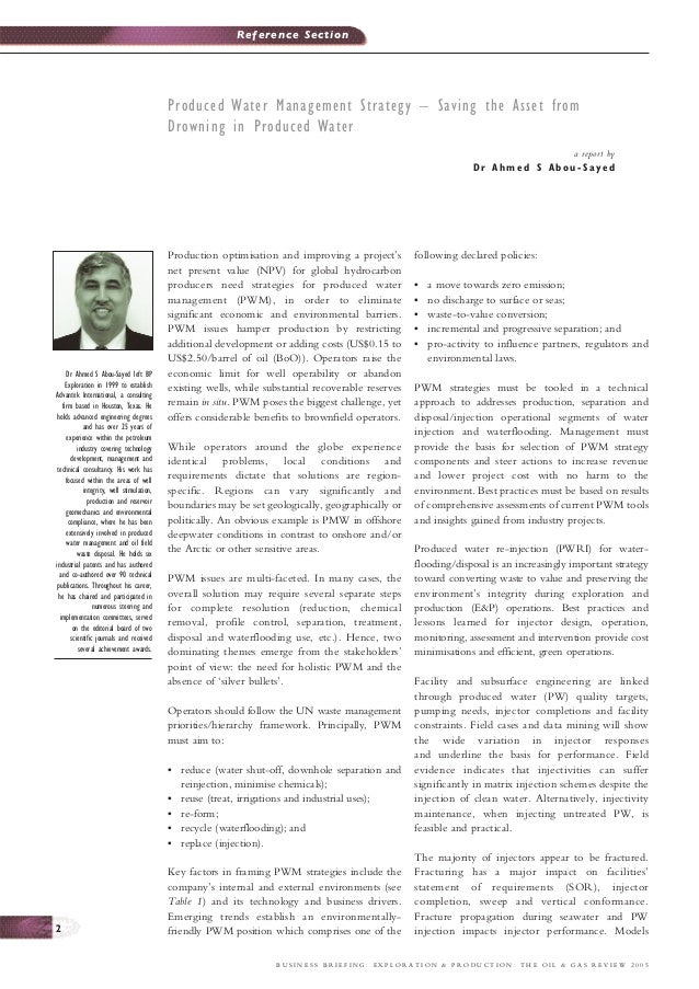 Reference Section                                            Produced Water Management Strategy – Saving the Asset from   ...