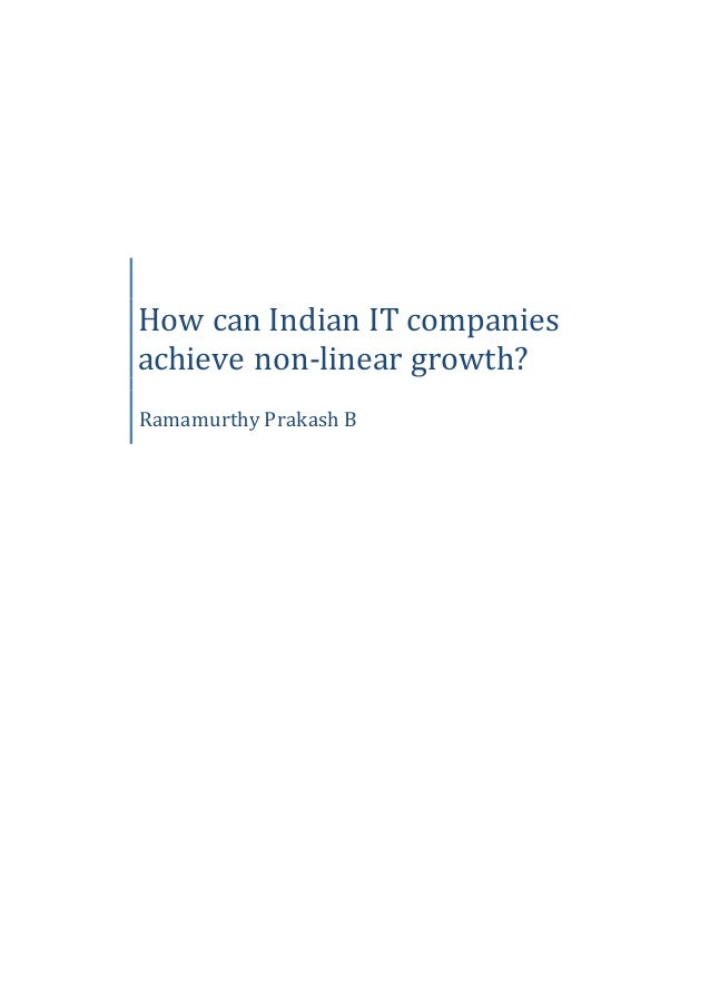 How can Indian IT companies achieve non-linear growth? Ramamurthy Prakash B