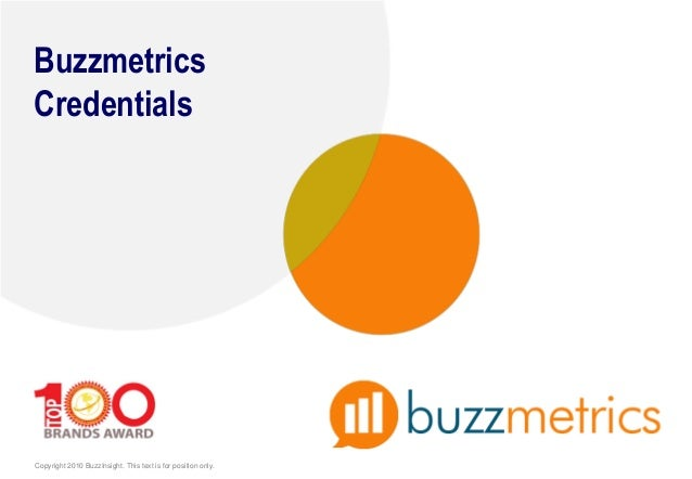 Copyright 2010 BuzzInsight. This text is for position only. Buzzmetrics Credentials