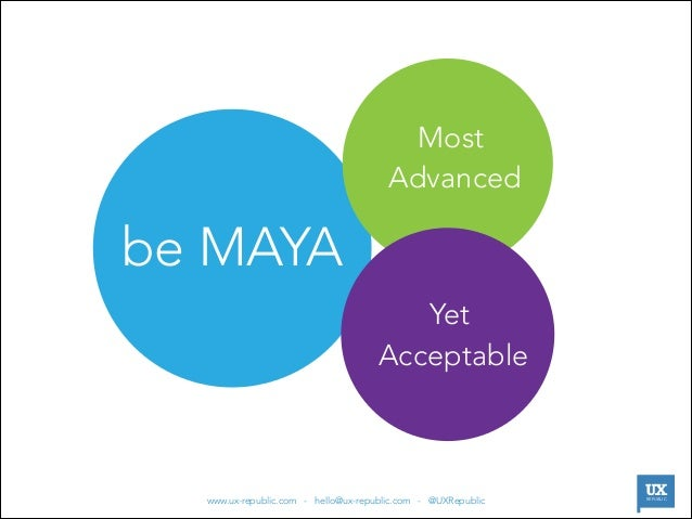 Most Advanced  be MAYA Yet Acceptable  |  www.ux-republic.com - hello@ux-republic.com - @UXRepublic  UX REPUBLIC