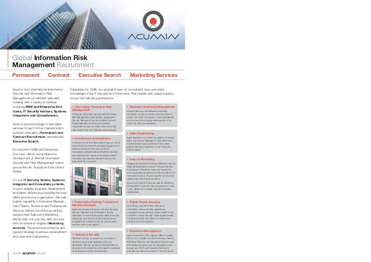 Marketing Services                                          •    Acumin have been running the monthly RANT (Risk and Netwo...