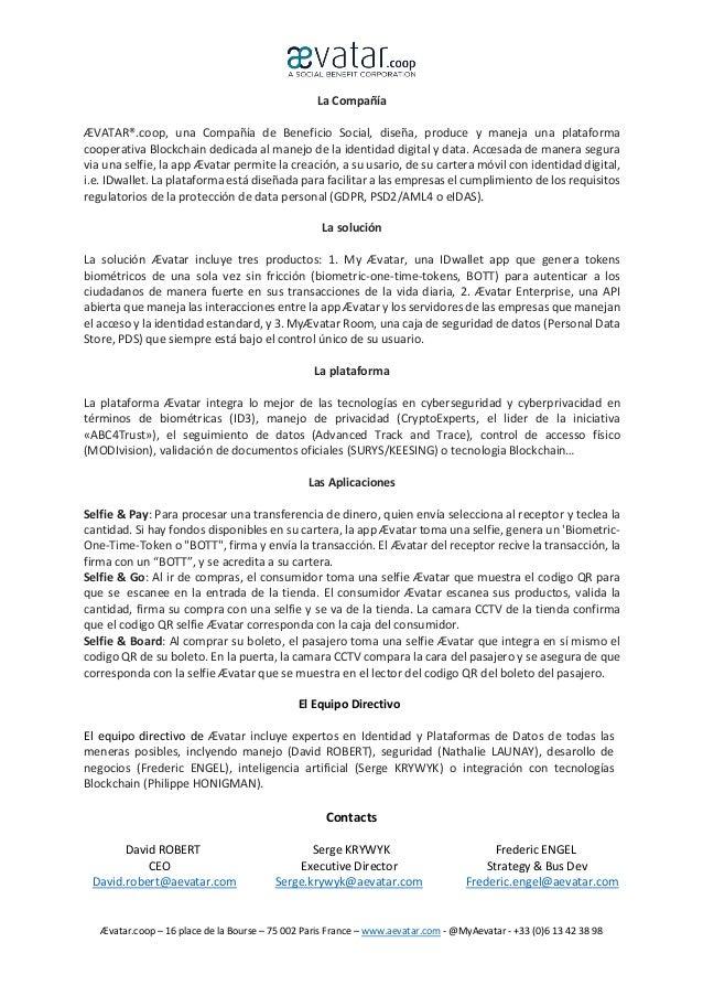 Ævatar.coop – 16 place de la Bourse – 75 002 Paris France – www.aevatar.com - @MyAevatar - +33 (0)6 13 42 38 98 La Compañí...