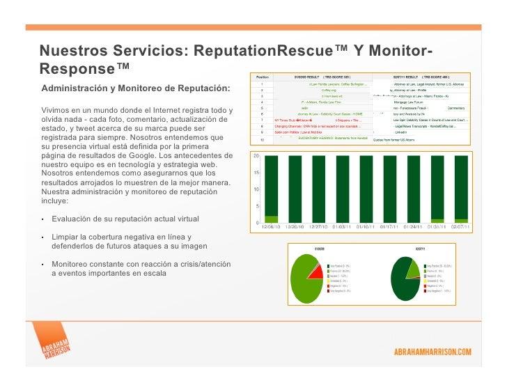 Nuestros Servicios: ReputationRescue™ Y Monitor-Response™Administración y Monitoreo de Reputación:Vivimos en un mundo dond...