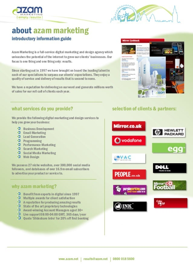 www.azam.net results@azam.net 0800 018 5600 about azam marketing introductory information guide Azam Marketing is a full-s...