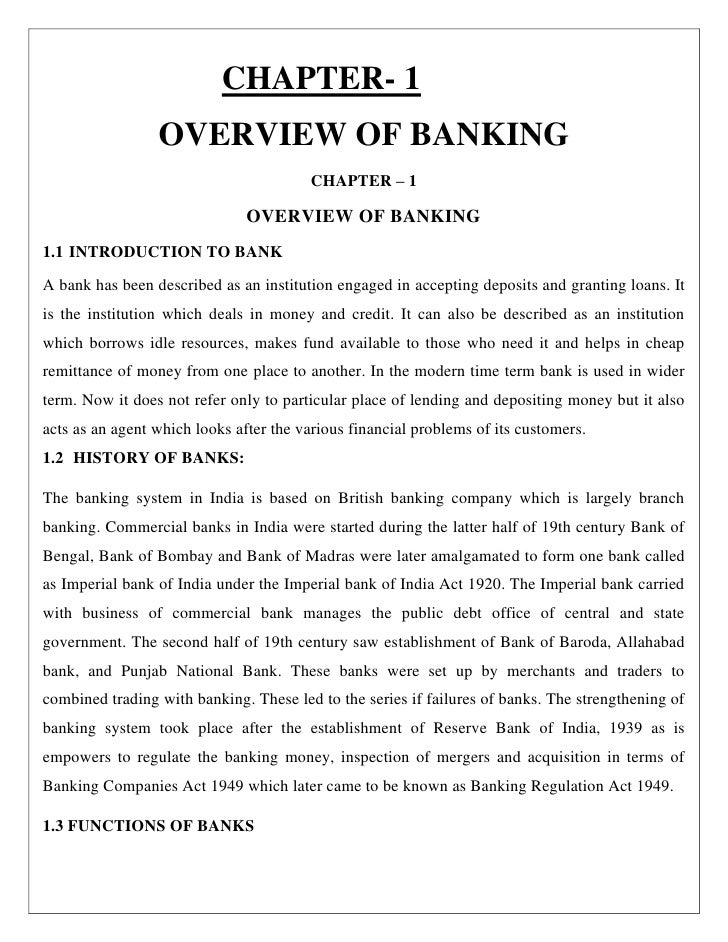 CHAPTER- 1                 OVERVIEW OF BANKING                                        CHAPTER – 1                         ...