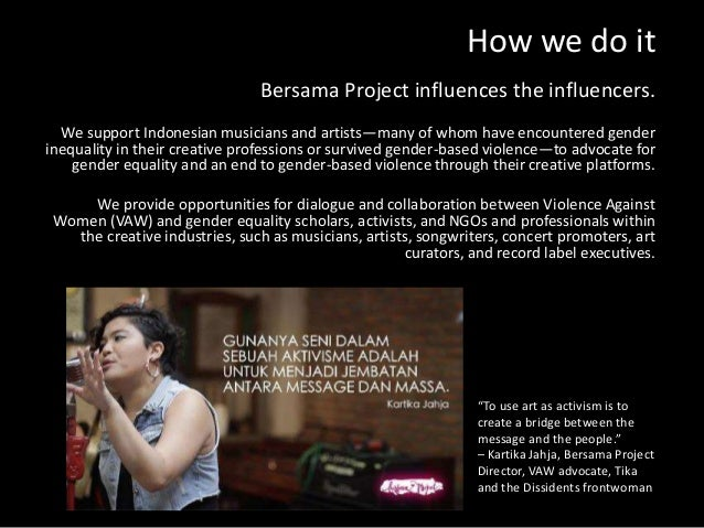 How we do it Bersama Project influences the influencers. We support Indonesian musicians and artists—many of whom have enc...