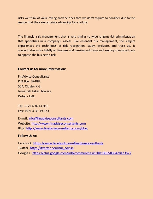Financial risk management business plan