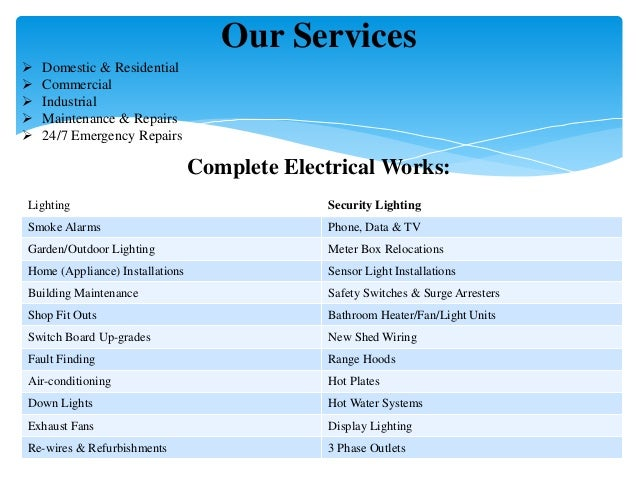 Our Services  Domestic & Residential  Commercial  Industrial  Maintenance & Repairs  24/7 Emergency Repairs Complete ...